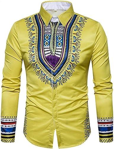 Loeay Otoño Casual Camisas de Estilo Africano Estampado Jersey de Manga Larga Cuello Vuelto Colores de Caramelo Homme Top Blusa Camisas Casuales: Amazon.es: Ropa y accesorios