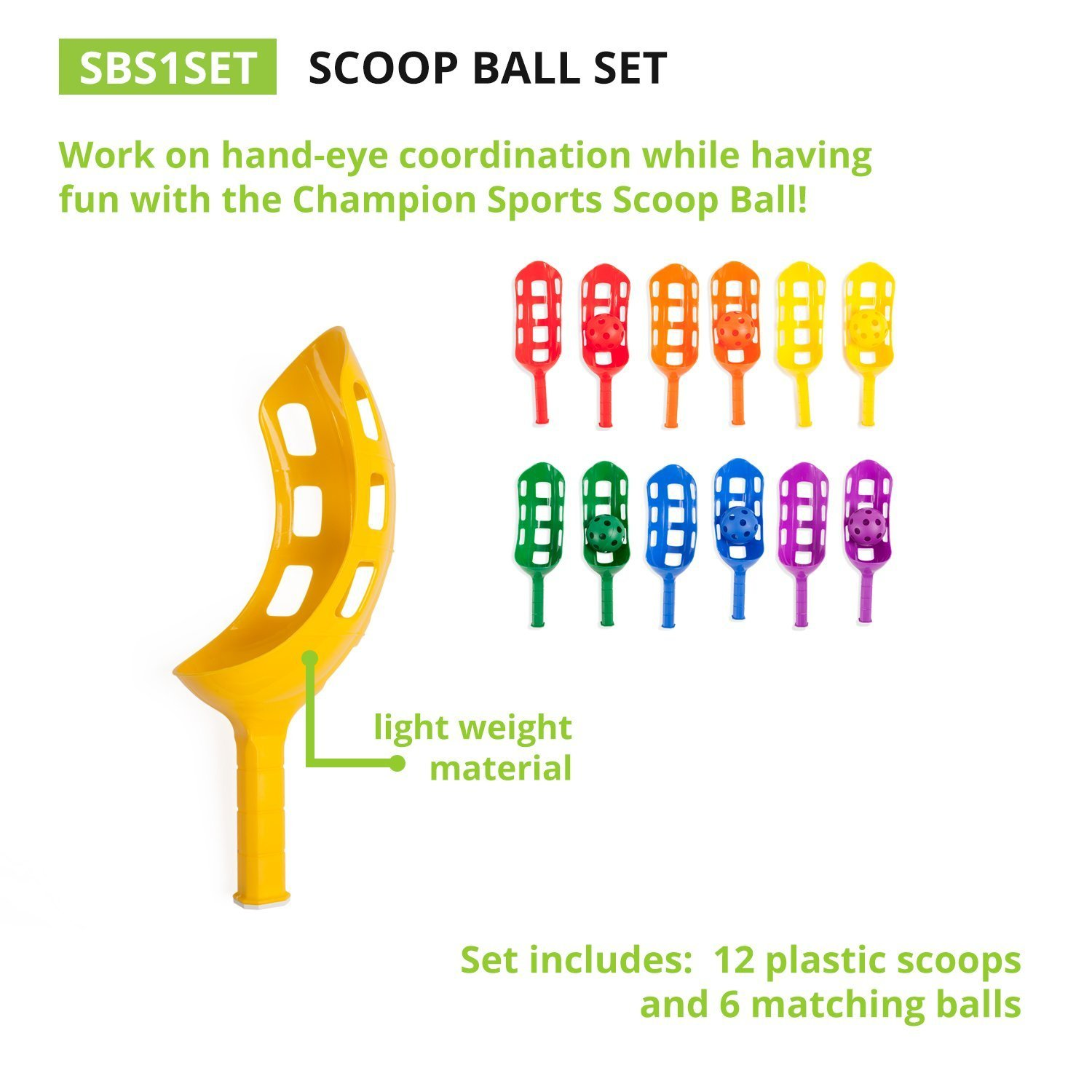 Champion Sports. Scoop Ball Set: Classic Outdoor Lawn Party & Kids Game in 6 Assorted Colors (Limited Edition) by Champion Sports. (Image #3)