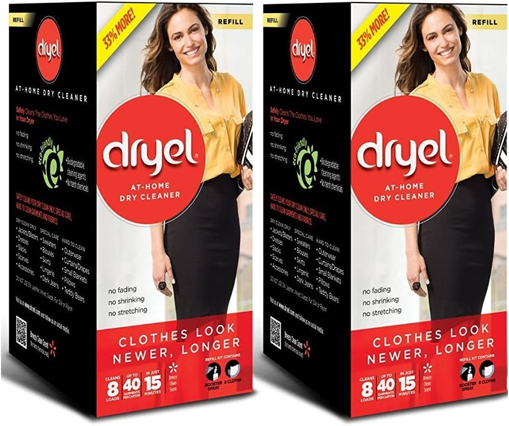Dryel At Home Dry Cleaner Refill (Pack of 2), 16 Counts in total