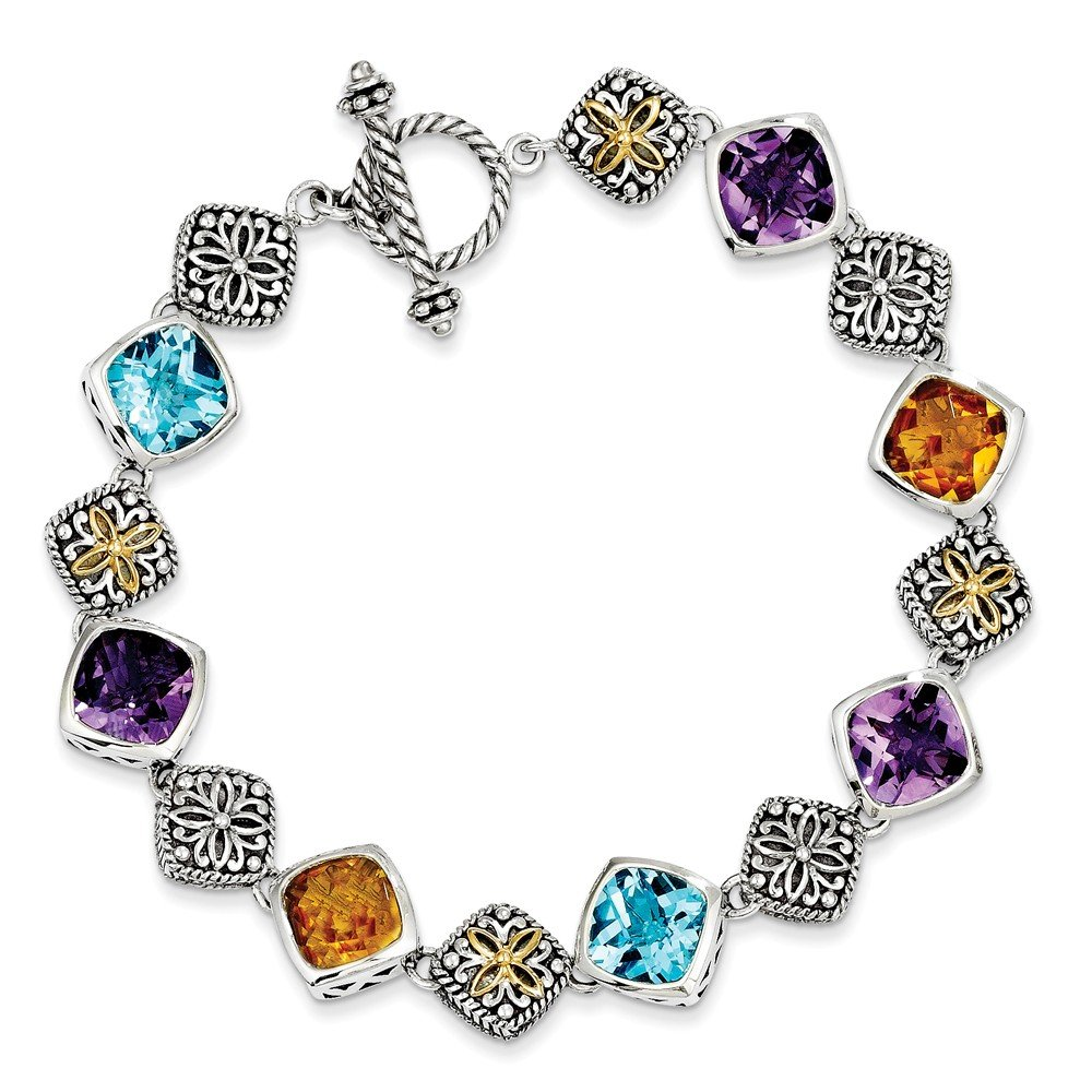 Sterling Silver Synthetic 14k Yellow Gold-Plated 20.35Multi Gemstone 8.25in Vintage Style Bracelet 20.35ct