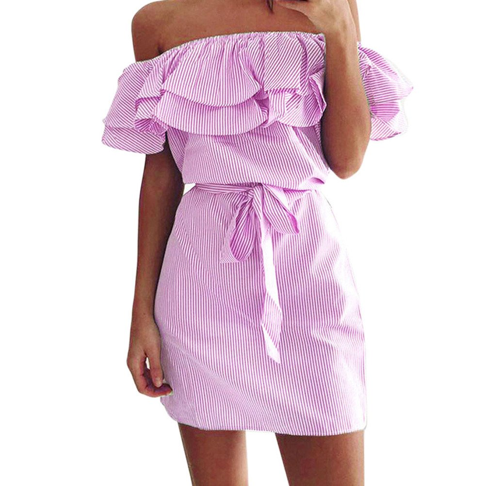 YAliDa 2019 clearance sale Women Summer Striped Off The Shoulder Ruffle Dress with Belt(Small,Pink)