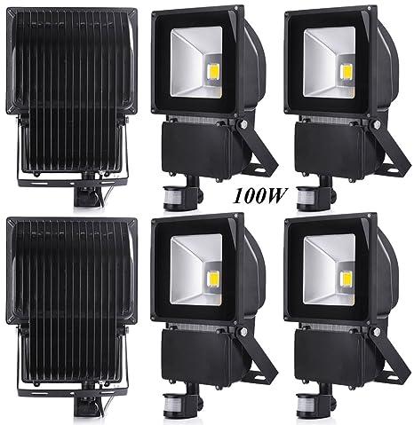 Leetop 6X 100W Blanco Cálido LED Foco Proyector Luz, Foco Proyector con Iluminación LED y PIR Sensor de Movimiento