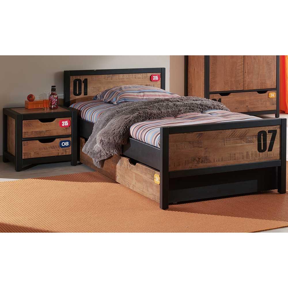 Pharao24 Jugendzimmer Bett in Braun Schwarz Kiefer