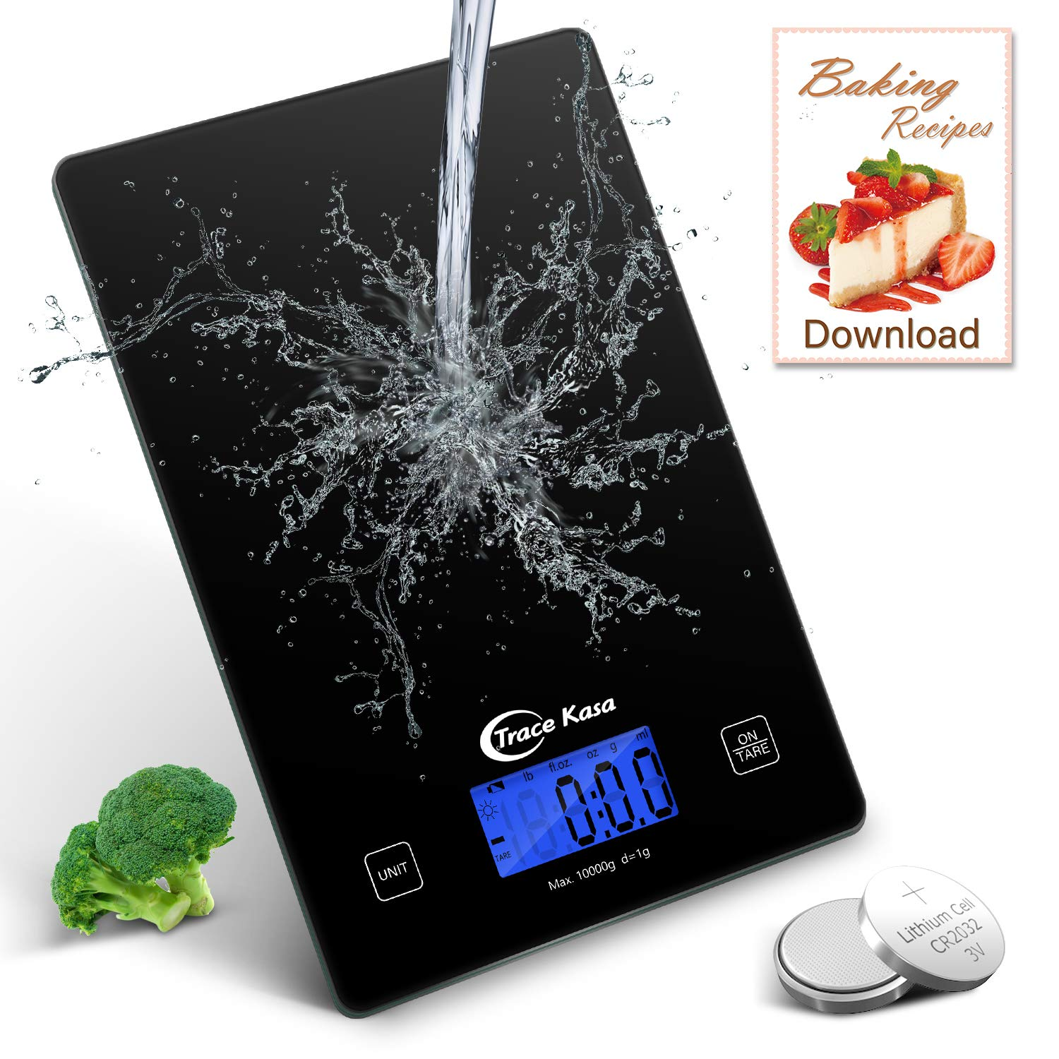 Trace Kasa Food Scale 22lb Digital Weight Grams Oz Electronic Kitchen Scale for Baking & Cooking, 1g/0.1oZ Precise Graduation, Digital Kitchen Scale with Large Backlit LCD Waterproof Tempered Glass