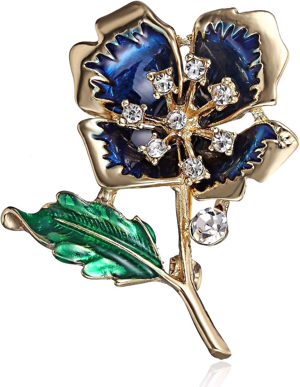 Élégant Femme Fleur Cristal Perle émail Broche Broche Mariage Fête Bijoux Cadeau