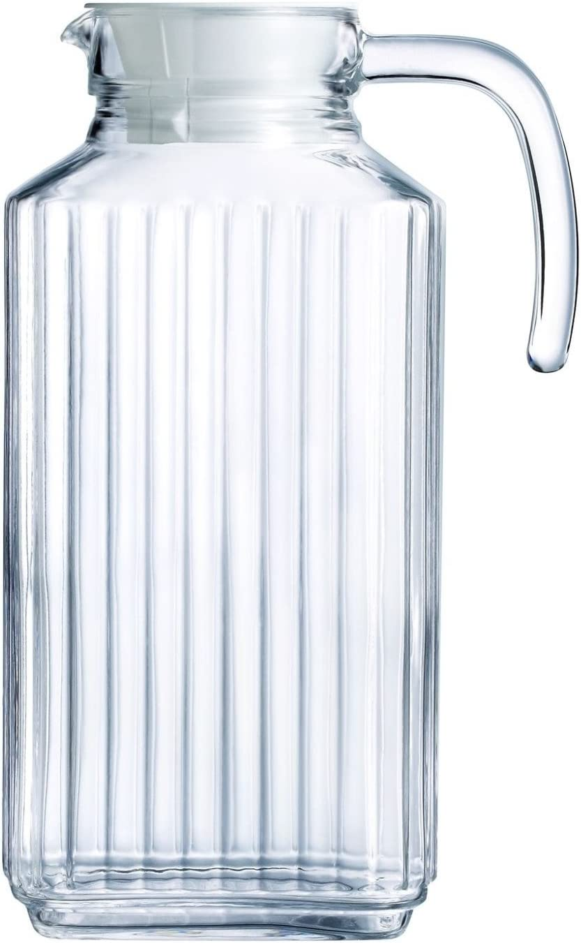 63.4 oz, Set of 2 63.4 Ounce. Circleware 66550 Frigo Ribbed Glass Beverage Drink Pitcher with Lid and Handle