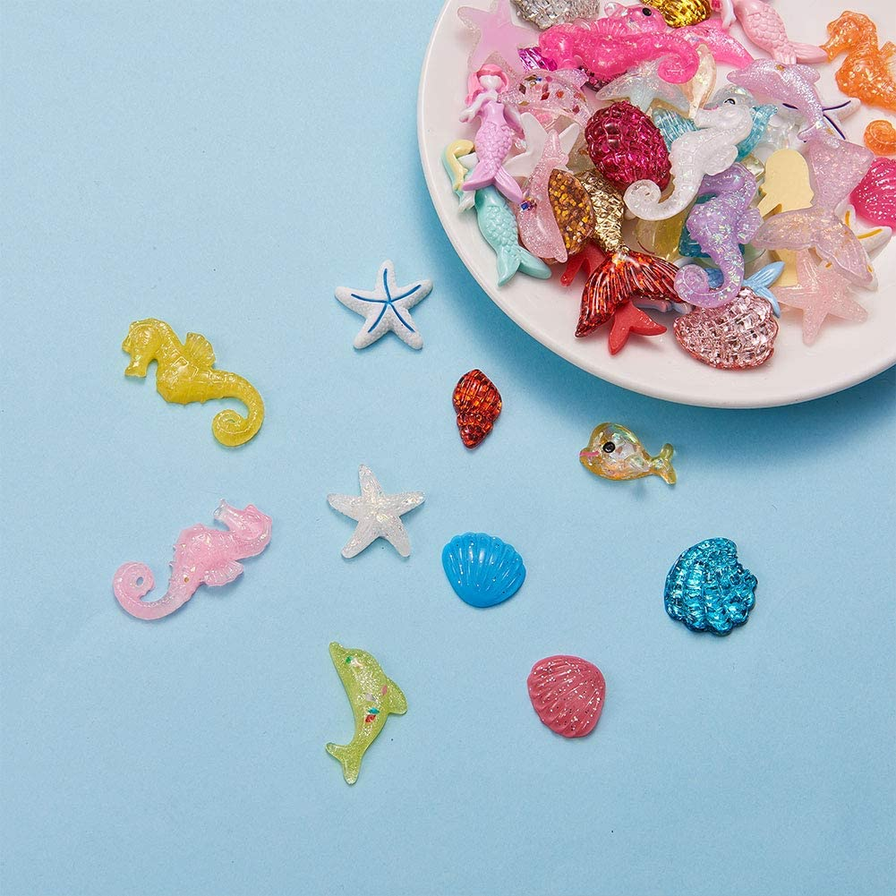 decoden Set 13 ocean theme glitter resin pieces kawaii cabochon mix  sea whale glitter pendant sea blue magical loot bag decoden ocean