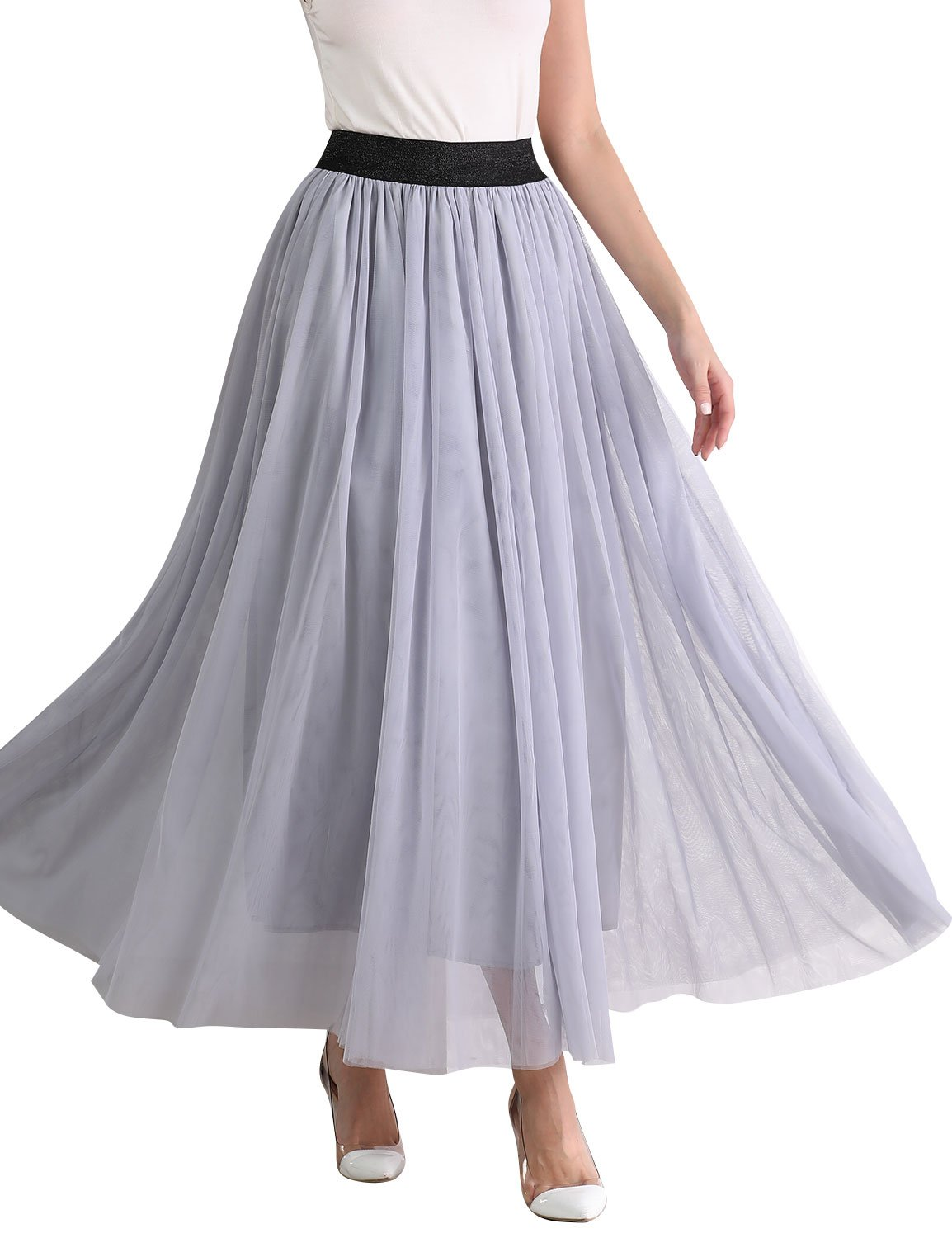 Ezcosplay Women High Waist Solid Multi Layer Tulle Pleated Maxi Long Swing Skirt
