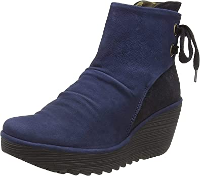 Yama Oil Suede Lace Up Wedge Ocean