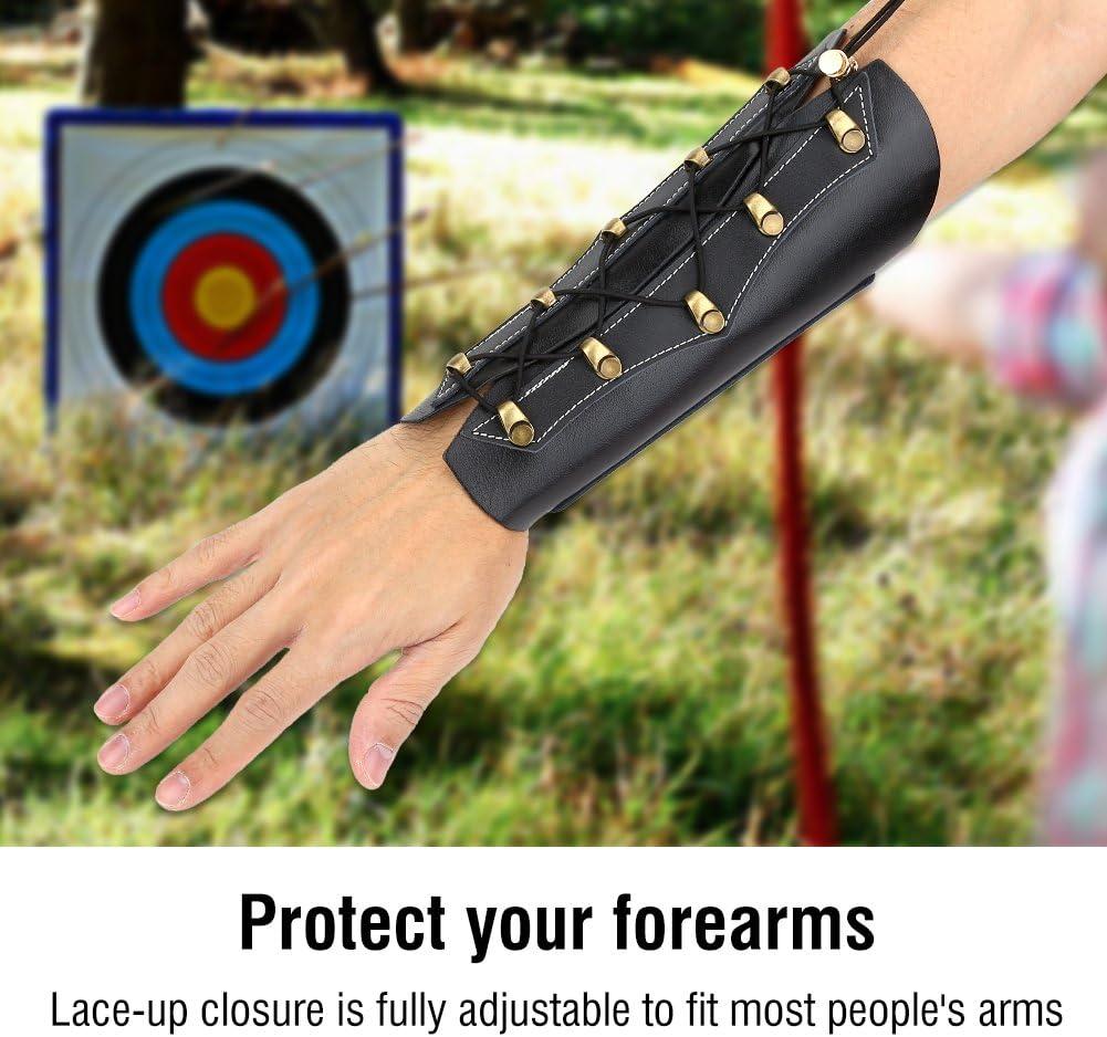 protettore dellarco del polso in pelle per la caccia Guardia del braccio di tiro con larco