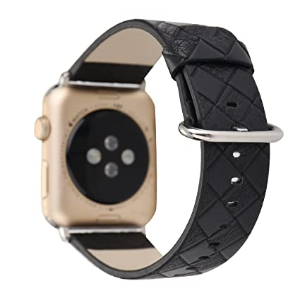 MagicFeel Lattice Pattern Leather Replacement Strap Wrist Watch Band Compatible with Apple Series 1 Series 2 Series 3 Smartwatch