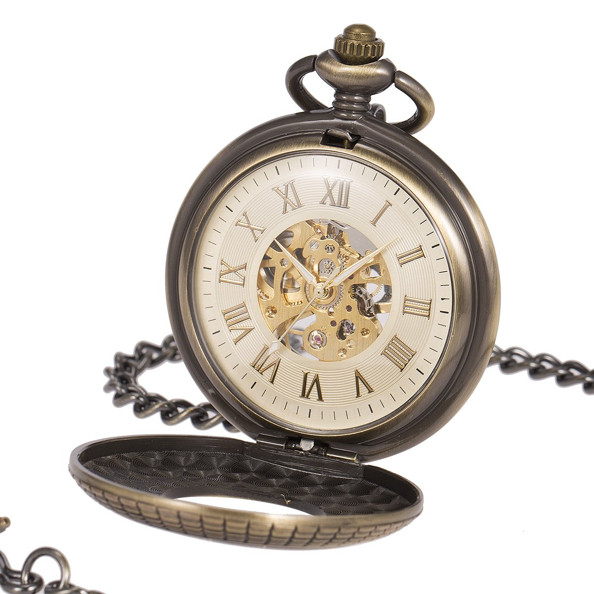 ManChDa Mens imitative wood Luminous Skeleton Mechanical Roman Numerals Pocket Watch With Chain Gift by ManChDa (Image #1)