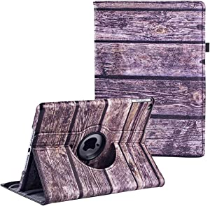 LXS iPad Rotating Case,iPad 5th/6th Generation Cases, 360 Degree Rotating Stand Protective Cover Smart Case for Apple iPad 9.7 inch 2018 2017 (Wood Grain)