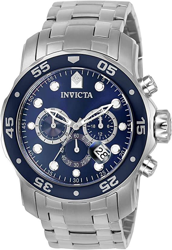Invicta Men's Pro Diver Quartz Chronograph Watch with Stainless Steel Strap