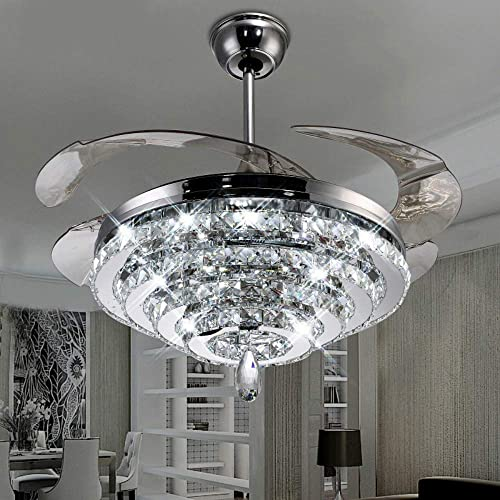 Lighting Groups Invisible Reversible Ceiling Fans 4 Circles Crystal Ceiling Fans Lamp-42 inch Transparent Retractable Blades Remote Control Fans Chandelier With LED Three Color Lights -for Indoor Silver-03