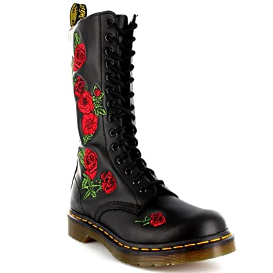 Womens Dr Martens Vonda Black Leather Combat Roses Lace Up Mid Calf Boot