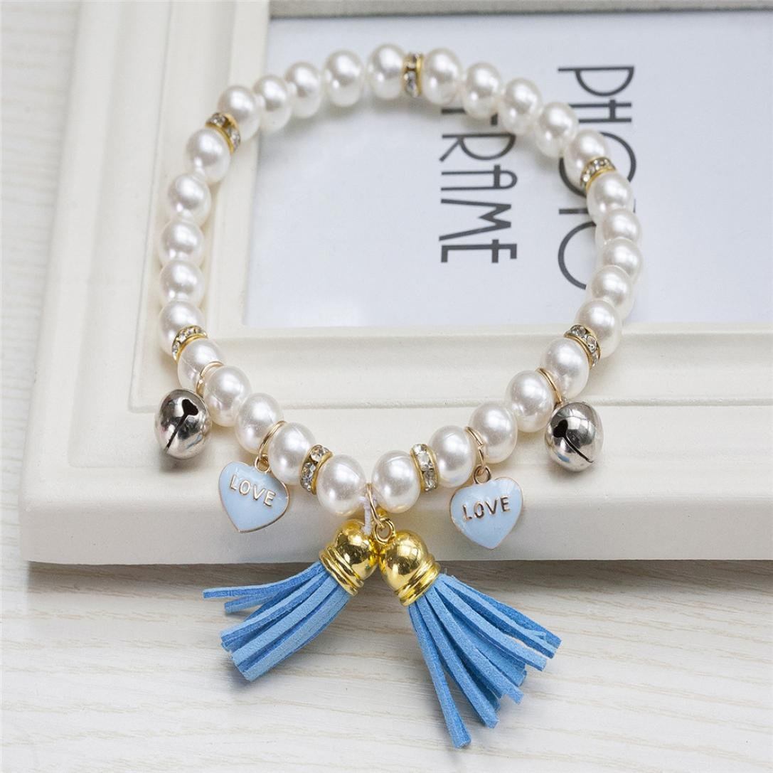 Pet Necklace Collar,Hongxin Fashion Pearl Collar Pet Jewelry Grooming Costume Accessories (B)