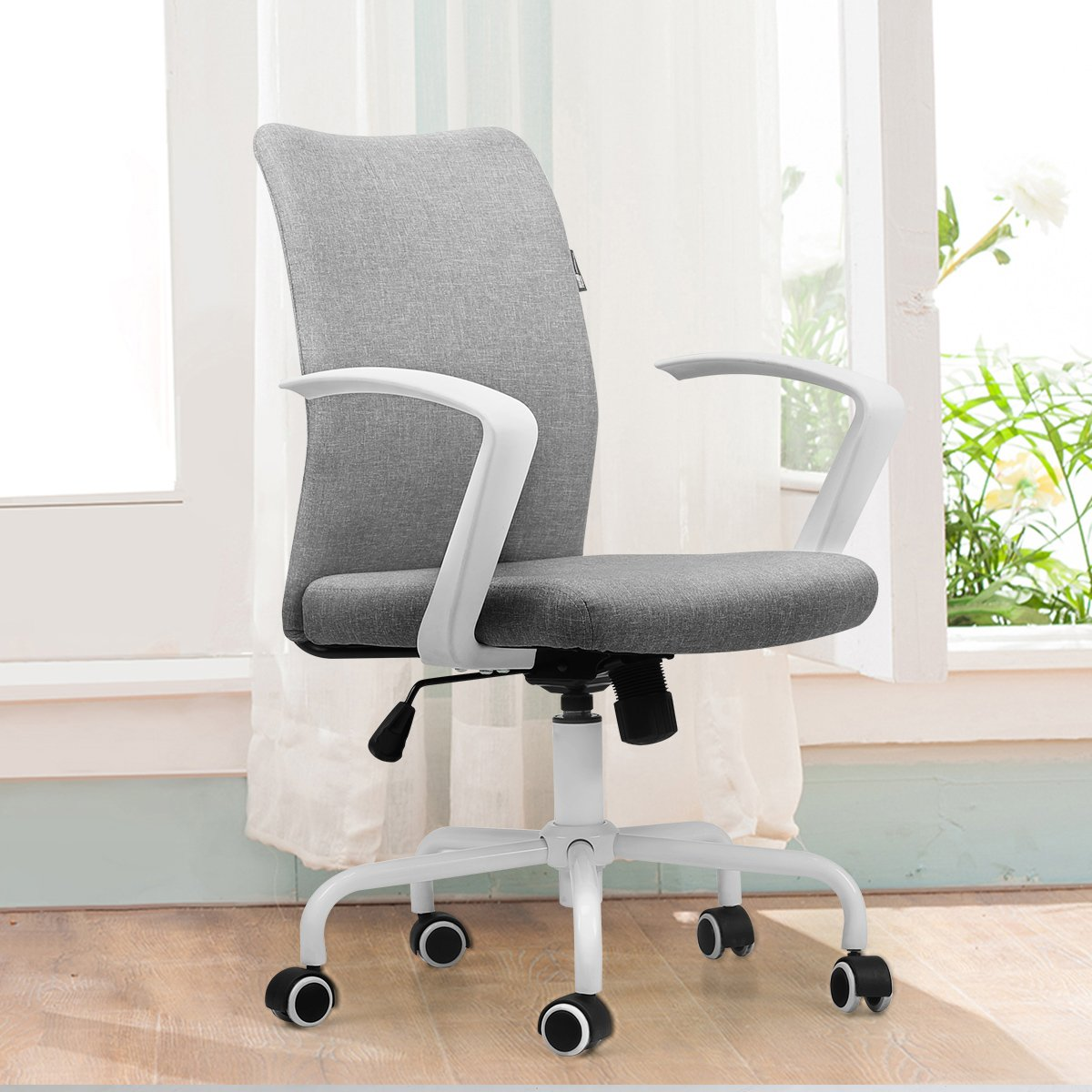 Hbada Desk Task Computer Chair - Modern Fabric Low Back Office Chair with Adjustable Height, for Reception Dinning Conference Room, Grey
