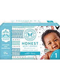 The Honest Company Club Box - Size 1 - Teal Tribal & Space Travel Print with TrueAbsorb Technology | Plant-Derived...