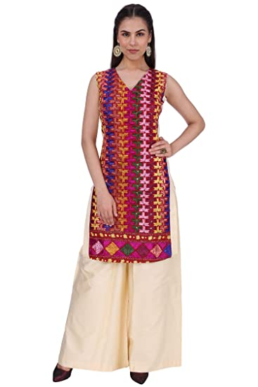 0c23381190d67 Hwi Phulkari Women S Cotton Silk Plazo (Hwipl000163-F-M-Beidge-Medium)