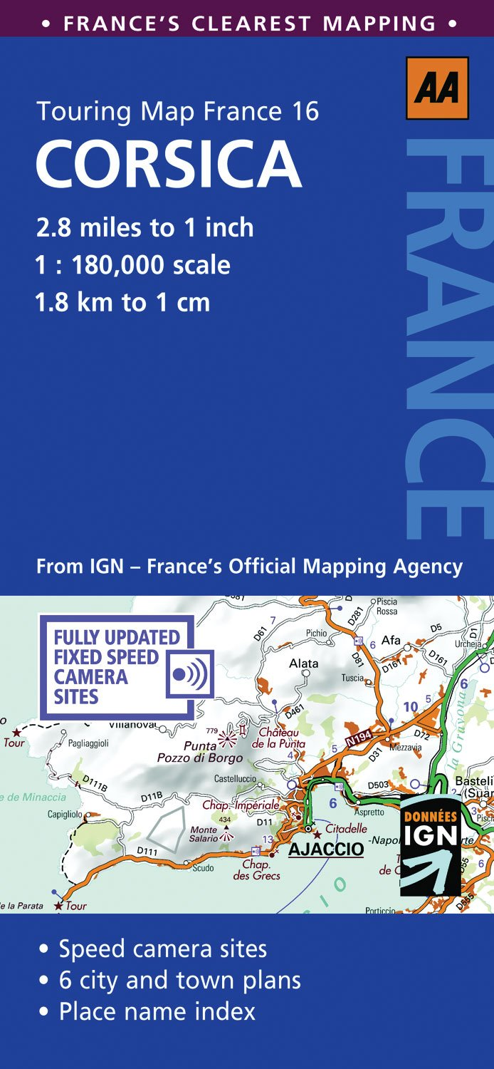 Road Map Corsica AA Touring Map France 16 Amazoncouk AA