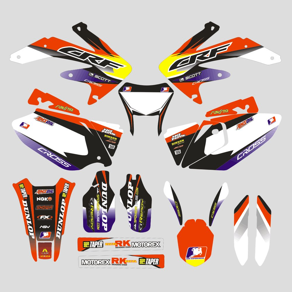 JFG RACING Customize Motorcycle Complete Adhesive Decals Stickers Graphics Kit For For Honda CRF450X 05-07