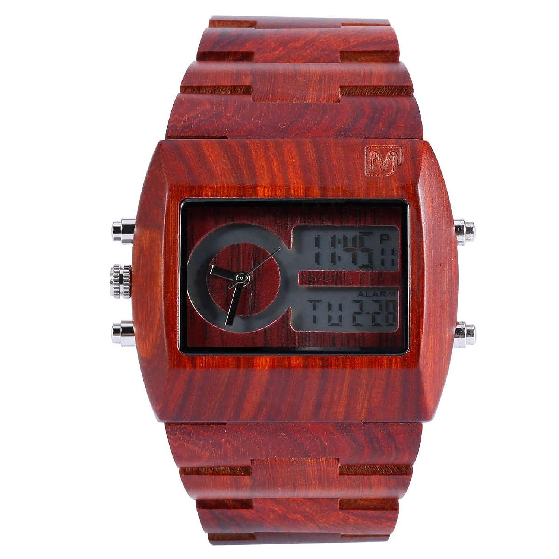 MerciMall BAB-DZR06 Chronograph analoge UE digitale Sandelholz Uhr mit Multi Zeitzone und Nacht