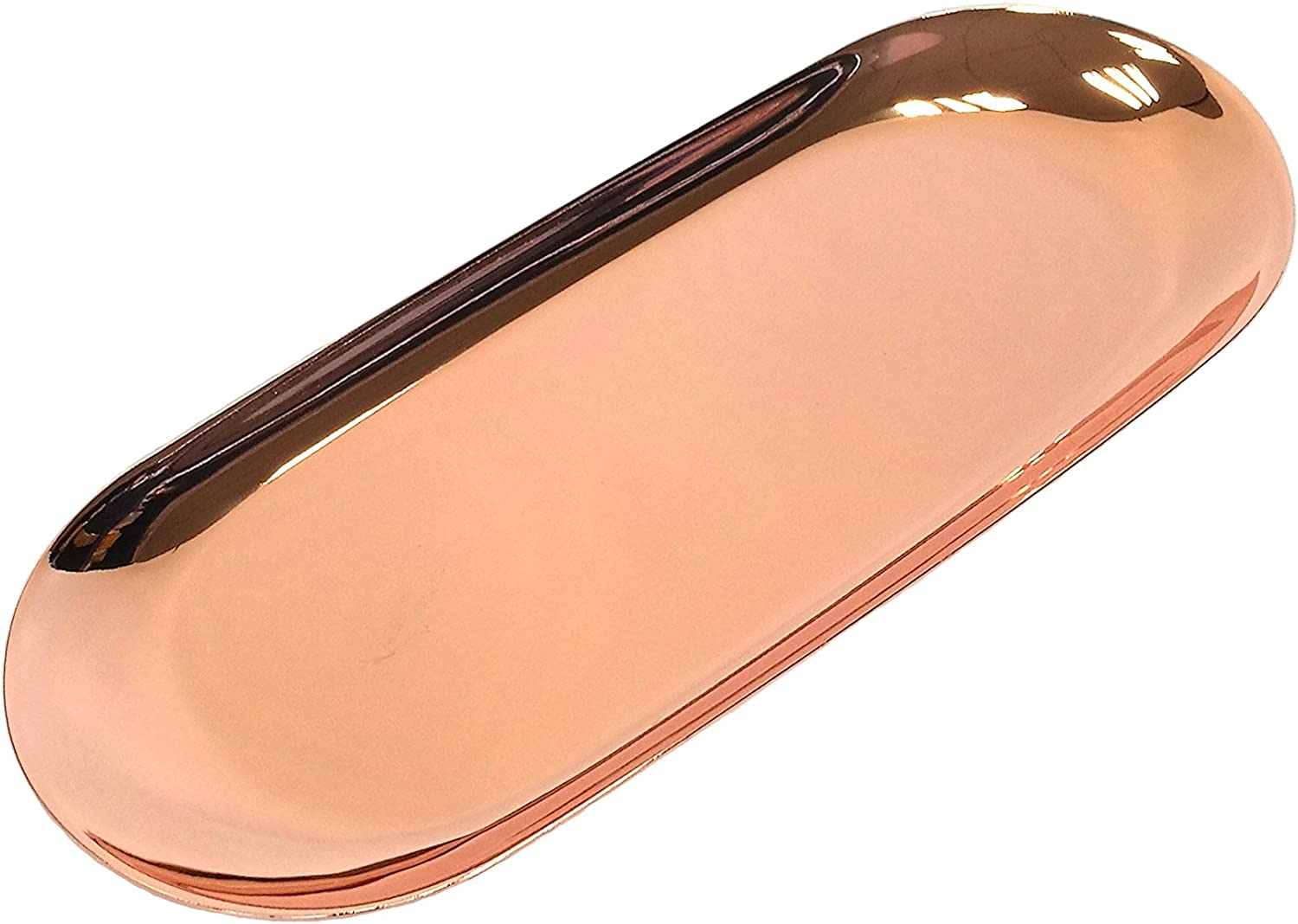 Easy 99 Metal Storage Tray Fruit Plate Small Items Cosmetics Jewelry Display Tray, Rose Gold