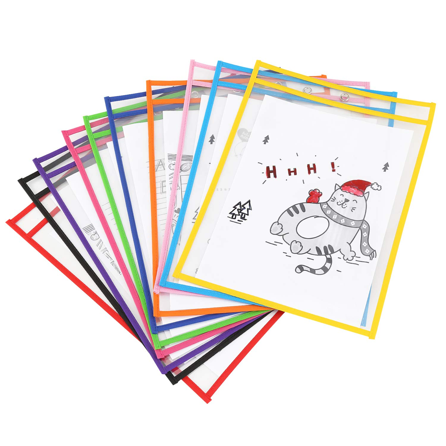 isingo Dry Erase Pockets, Wear-Resistant PET Material 9 x 12 inches, Perfect for Classroom Organization, Reusable Dry Erase Pockets, Teaching Supplies, 10 Pockets per Pack