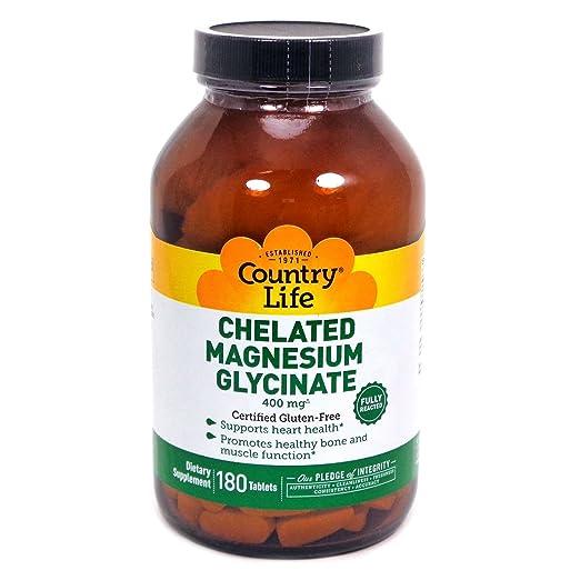 Country Life - Magnesio Chelated Glycinate 400 mg. - 180 tabletas: Amazon.es: Salud y cuidado personal
