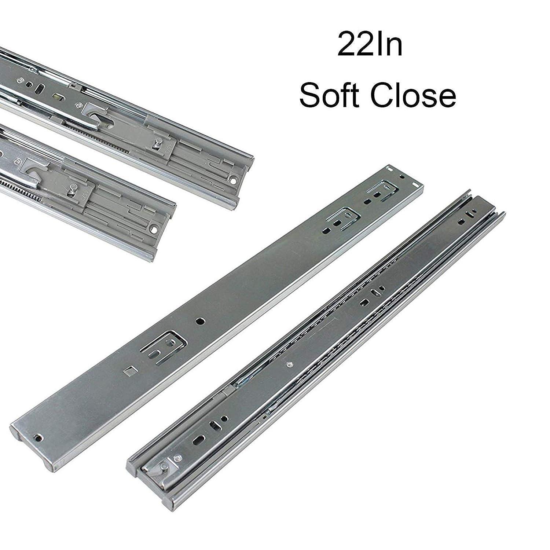 Full Extension Ball Bearing Drawer Slides Soft Close Rail Runners 10Pair Gobrico 22-Inch Heavy Duty 100 Lb