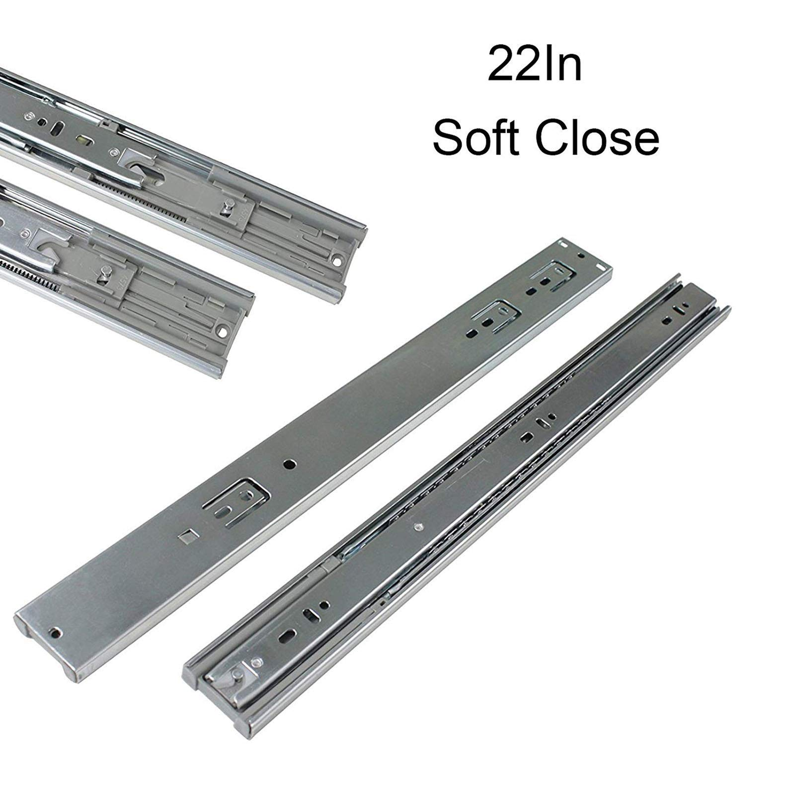 22-Inch Heavy Duty Full Extension Ball Bearing Drawer Slides Soft Close Rail Runners 6Pair(12 Pieces)