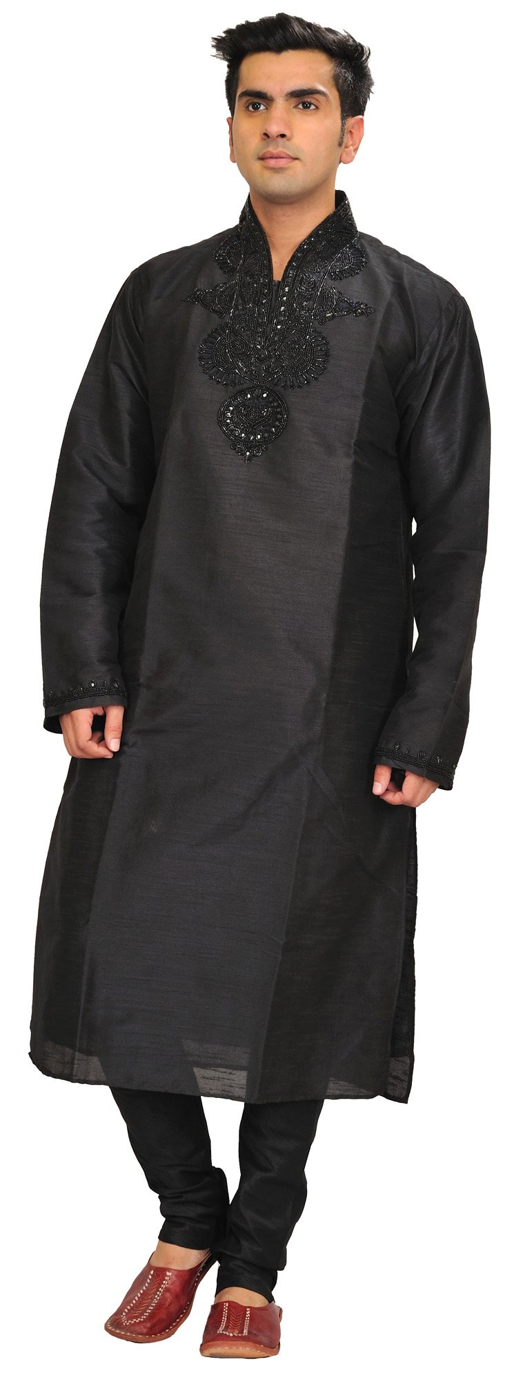 Exotic India Jet-Black Wedding Kurta Pajama Set With Be Size 42