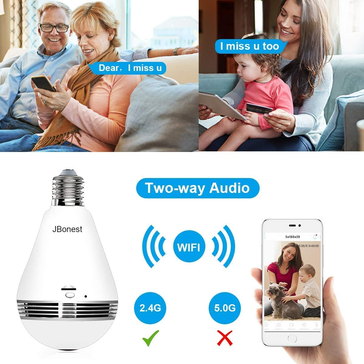 JBonest 1080P Light Bulb Camera with Real Time Audio, IR Motion Detection, Night Vision, Panoramic View, Cloud Service for Home, Office