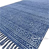 Eyes of India – 3 X 5 ft Blue Cotton Block Print Accent Area Dhurrie Rug Flat Weave Hand Woven Boho Chic Indian Bohemian For Sale