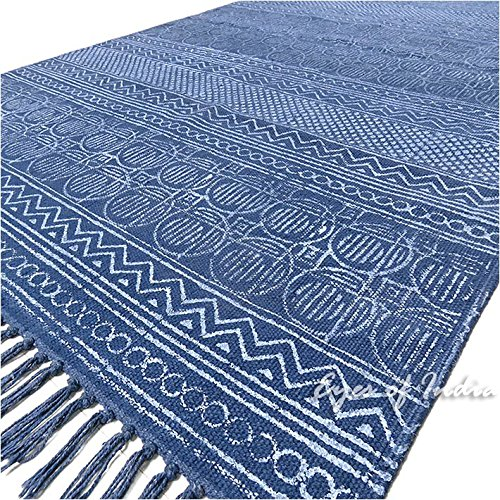 Eyes of India - 3 X 5 ft Blue Cotton Block Print Accent Area Dhurrie Rug Flat Weave Hand Woven Boho Chic Indian Bohemian by Eyes of India