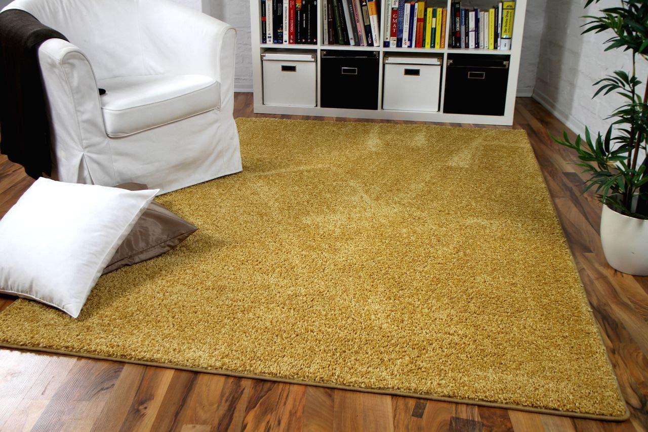 Hochflor Velours Teppich Mona Curry Gelb in 24 Größen