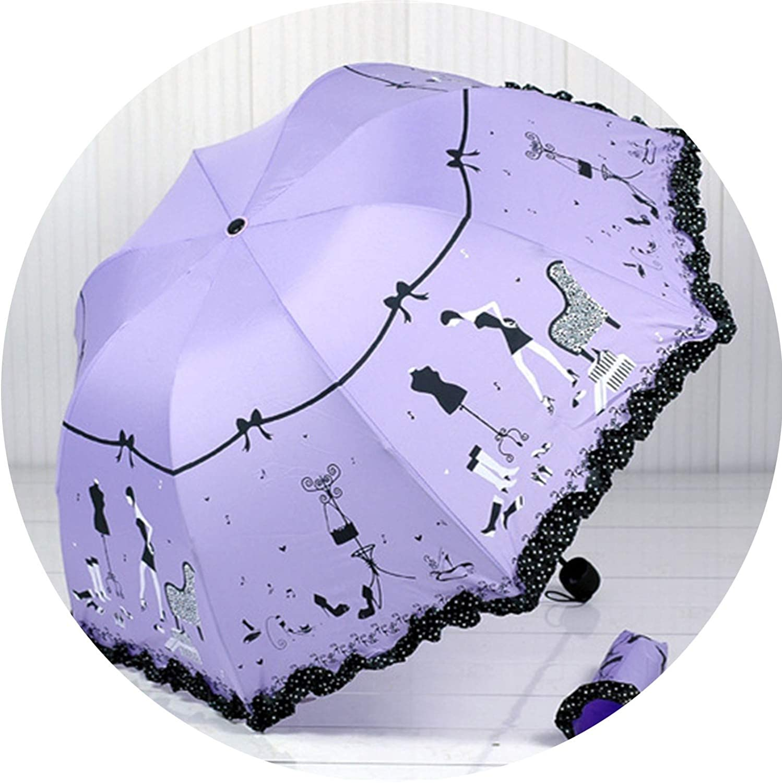 parasol umbrella rain women mini umbrella kids Kocotree Princess new arched creative folding umbrella sun umbrella lace,purple 0