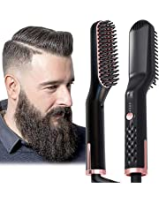 Hair Straightening Brush, Beard Straightener Brush, 3-in-1 Ionic Straightening Comb with Anti-Scald Feature Heat Resistant, Hair Straightening Styling Comb, Electric Hair Straightener Brush(AU Plug)