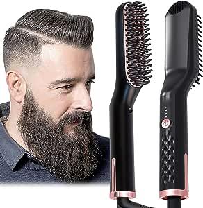 Johnbo AU Plug Hair Straightening Brush, Beard Straightener Brush, 3-in-1 Ionic Straightening Comb, 1 count