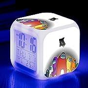 Sveglia Digitale, Piccola Sveglia Sveglia, Sveglia da Viaggio, Orologio A Batteria, Cambio Colore Colorato Among us Regalo D