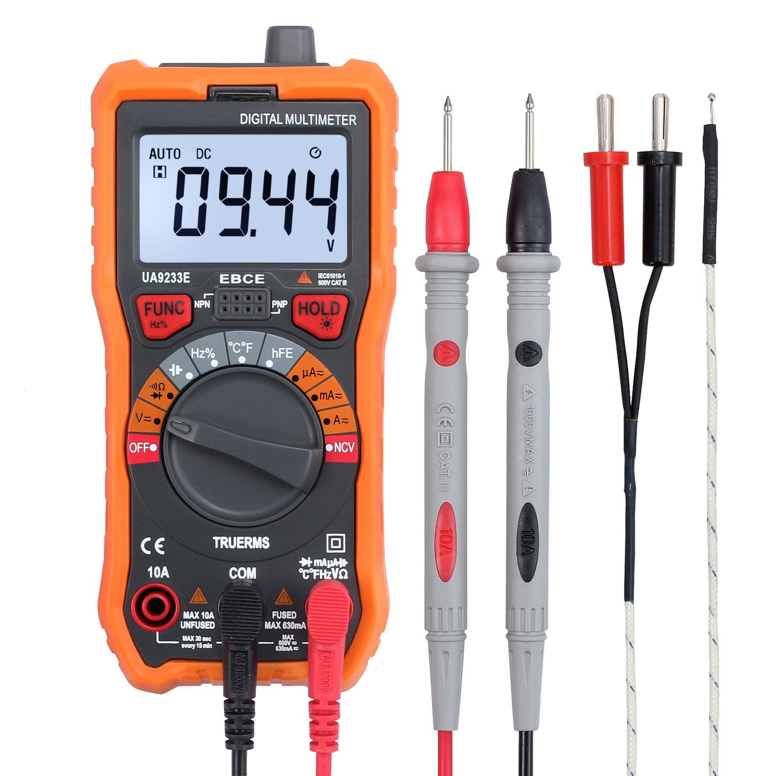 CAMWAY Digital Multimeter 6000 Counts True RMS Auto Ranging NCV AC/DC Voltage Current Resistance Temperature Backlit LCD Multi-Tester Probe & Alligator Clips