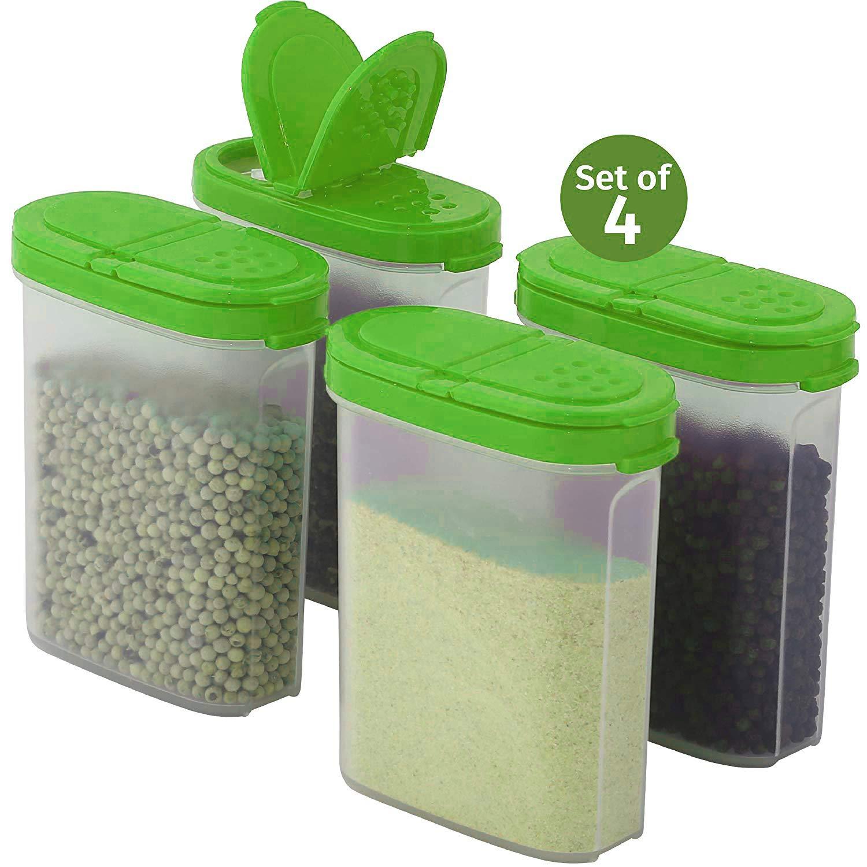 2er Set, Gelb LEOFANS Gew/ürzdosen Sch/üttdosen Vorratsdosen Set 0,25L f/ür die K/üche aus BPA Frei Kunststoff