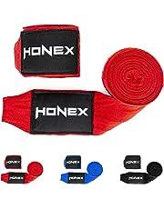 HONEX Lucha Boxeo Vendas 4Meter–Cintura Calidad Profesional Mano Wraps con Extra Ancho Cierre de Velcro (Rojo)