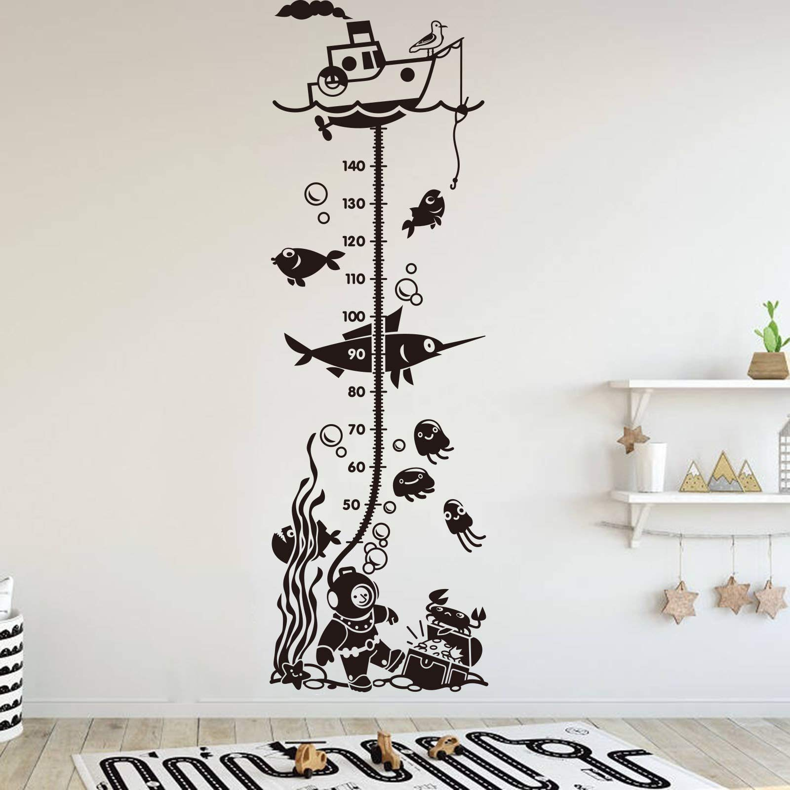 Height Growth Chart Under Sea Wall Decal Measure Ruler Decal Height Growth Chart Fish Dive Wall Sticker Art Vinyl Kids Room Children Room Made in USA by AmericanVinyl