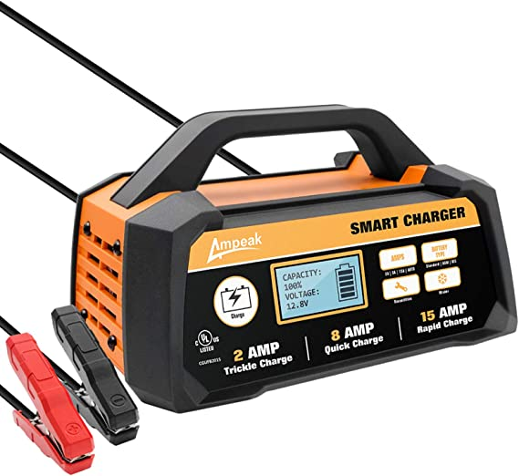 Amazon Com Ampeak 2 8 15a 12v Smart Battery Charger Maintainer Fully Automatic With Winter Mode Automotive
