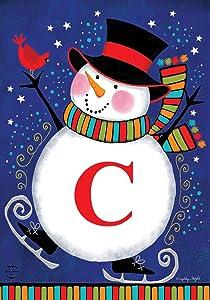 "Briarwood Lane Winter Snowman Monogram Letter C Garden Flag 12.5"" x 18"""