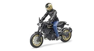 Bruder 63050 – Moto Scrambler Ducati Cafe Racer con Motociclista