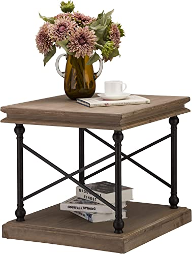 Glitzhome Square End Table Rustic Side Table Wood Sofa Table Farmhouse End Table