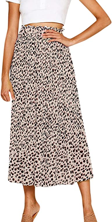 Availcx-Sexy Long Skirt Falda de Leopardo de Cintura el¨¢Stica ...